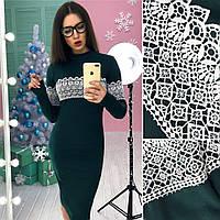 Трикотажное платье по фигуре с кружевными вставками 23602