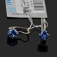Серебряные серьги с синим камнем, фото 1