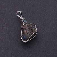 Кулон из натурального камня Лабрадор в серебристой оплетке 2,3х2,1см (+-)