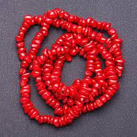 """Бусины  красный Коралл """"крошка """" d-4-11мм L-90см нитка"""