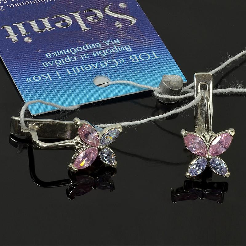 Серебряные серьги Бабочки с фианитами