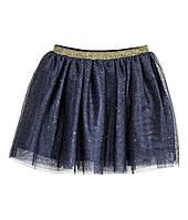 Юбка нарядная пышная из фатина американка для девочек 122/128 H&M синяя с блестками