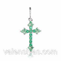 Серебряный крестик с зелеными камнями П2ФИ/423