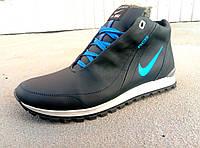 Зимние синие кожаные мужские кроссовки Nike, фото 1