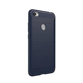 Чехол накладка для Xiaomi Redmi Note 5A Prime силиконовый IPAKY, Carbon Fibre, синий