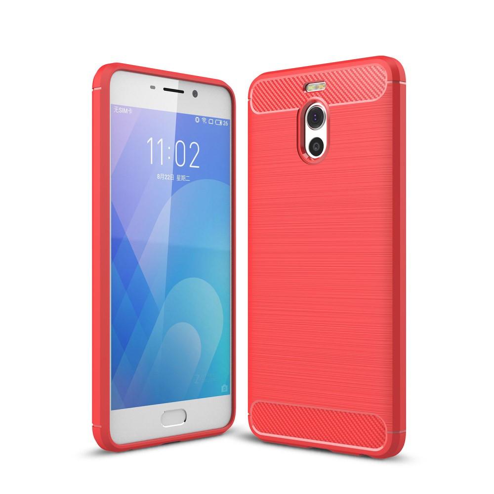 Чехол накладка для Meizu M6 Note силиконовый, Carbon Fiber, красный