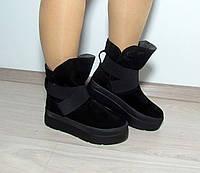Зимние ботинки замша на толстой подошве