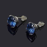 Серебряные серьги-пусеты с синим камнем
