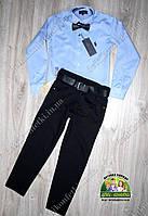Нарядный комплект для мальчика: голубая рубашка Polo и черные брюки