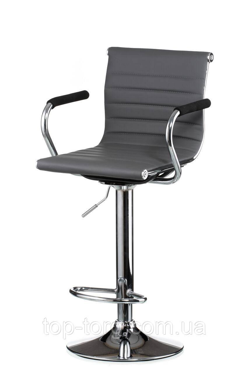 Барный стул серый, хром Bar grey plate E4923