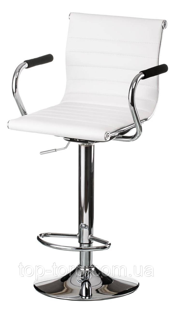 Барний стілець білий, хром Bar white plate E1151