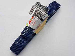 Плечики детские металлические в силиконовом покрытии цвета синий металлик, 29,5 см, 10 штук в упаковке