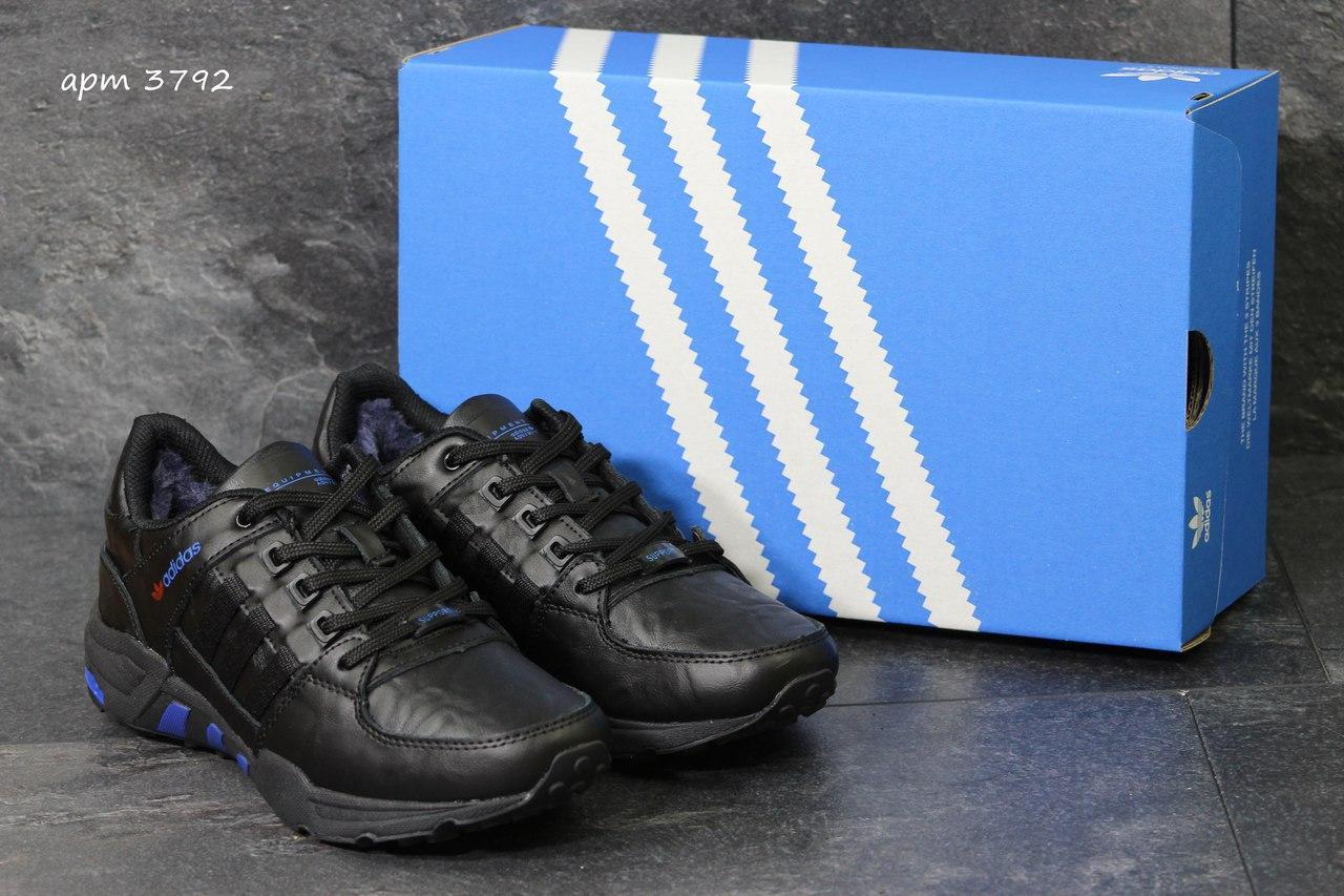 Зимние кроссовки Adidas Equipment кожаные,черные с синим