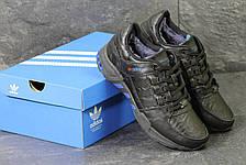Зимние кроссовки Adidas Equipment кожаные,черные с синим, фото 2