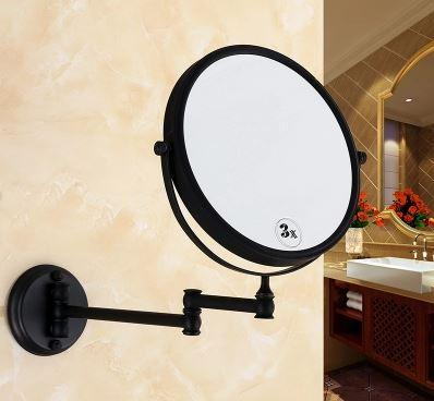 Зеркало косметическое настенное черное 0467