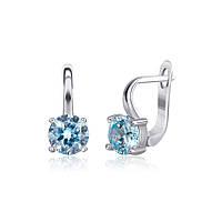 Серебряные сережки-комплект с голубыми камнями СК2ФТ/404