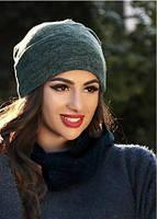 Жіноча шапка з ангори зелена 013