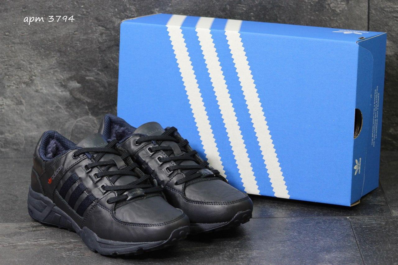 Зимние кроссовки Adidas Equipment кожаные,темно синие