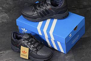 Зимние кроссовки Adidas Equipment кожаные,темно синие, фото 2