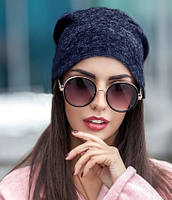 Женская шапка из ангоры синяя 013