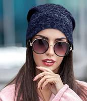 Жіноча шапка з ангори синя 013