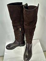 Женские зимние сапоги ботфорты, натуральная кожа, замша