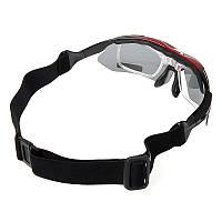 Тактические Поляризованные очки «RockBros Polarized» с 5-ти линзами и защитой UV400 Чёрно-бардовый