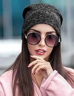 Женская шапка из ангоры черный 013