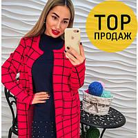 Женский кардиган, красный, модный, теплый / женские кардиганы, с принтом, 2018