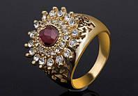 Позолоченное кольцо женское с кристаллами