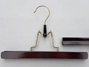 Плечики длиной 25 см вешалка деревянная клипса для брюк и юбок цвета вишни