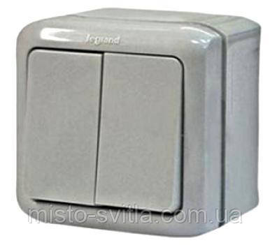 Выключатель 2 кл 10А IP44 серый Legrand Forix Quteo 7823822