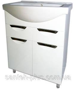 Тумба для ванной комнаты с 2 выдвижными ящиками Грация Т5 с умывальником Изео-65