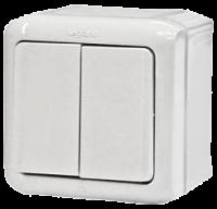 Выключатель 2-клавишный 10 А IP44, белый, Legrand Quteo, 782302