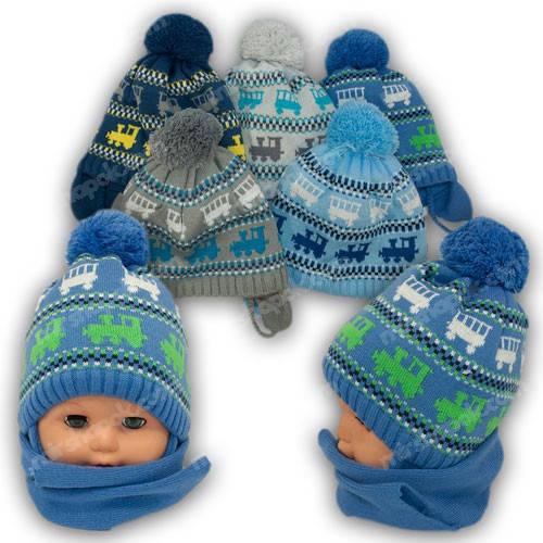 Комплект шапка и шарф для мальчика, Grans (Польша), утеплитель флис, A815F