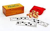 Лото настольная игра в бамбуковой коробке(90 дер.боч, 24 карт, 40пласт.фиш, р-р 24x13x9,5см)