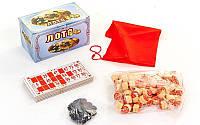 Лото настольная игра в цветной картонной коробке  (90 дер.боч.,48 карт,40 фиш, р-р 17x10x9см)