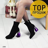 Женские ботильоны на фигурном каблуке, черного цвета / ботильоны женские замшевые, с камнями, стильные