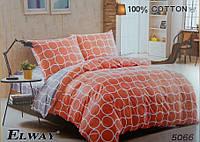 Сатиновое постельное белье евро ELWAY 5066