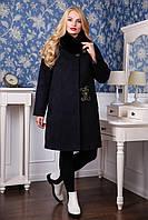 Зимнее женское кашемировое пальто воротник из Песца   цвет Черный