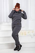 Д1298/1 Спортивный костюм на байке размеры 42-56 Черный, фото 2