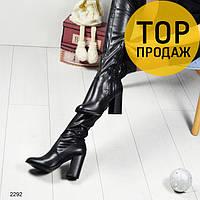 Женские ботфорты на устойчивом каблуке, черного цвета / сапоги высокие женские кожаные, на флисе, стильные