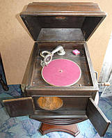 Граммофон кабінетний великий встроєна деревяна труба антикварний робочий