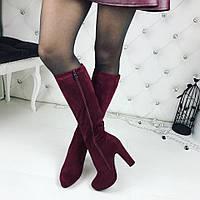 Женские сапоги зима на высоком каблуке, цвет марсала