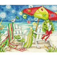 70-08948 Набор для вышивания крестом DIMENSIONS Рождественские пляжные стулья