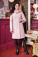 Зимнее женское шерстяное пальто   воротник из Песца  цвет Пудра