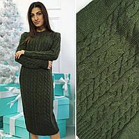 Женское теплое платье вязка+шерсть