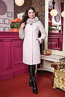 Зимнее женское шерстяное пальто   воротник из Песца  цвет Молочный