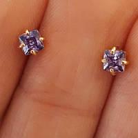 Серьги с фиолетовым камнем золото 585 - Золотые серьги гвоздики