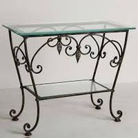 Кованый стол со стеклянной столешницей50